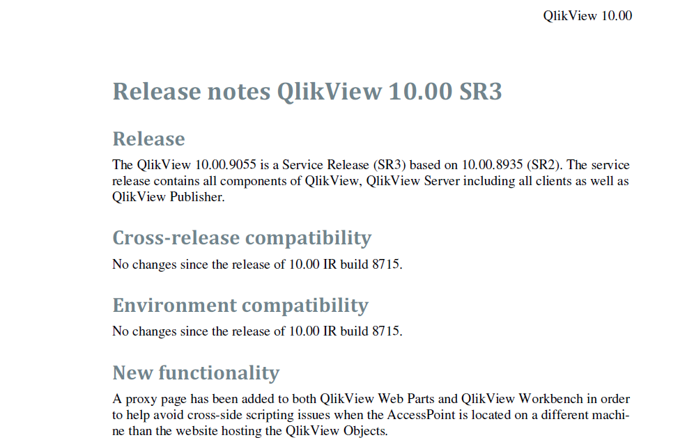 Release Notes QlikView 10 SR3